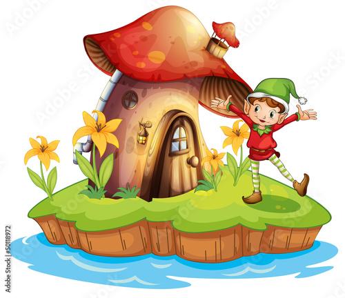 A dwarf outside a mushroom house