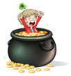 A young boy inside a pot full of coins