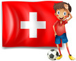 A soccer player in front of a swiss flag