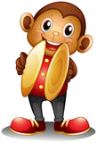 A monkey holding cymbals