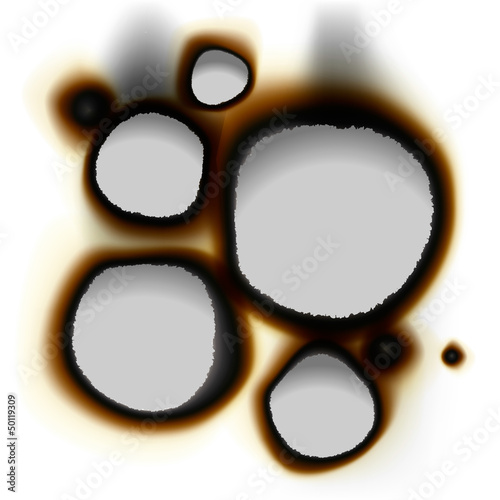 Collection of burnt holes, vector Eps10 illustration.