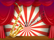 A saxophone and the musical notes at the stage