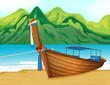 A beach with a wooden ship