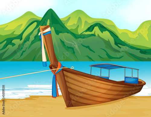A beach with a wooden ship