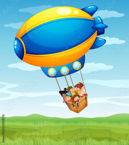 A stripe airship carrying a group of kids