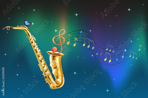 A saxophone with a butterfly and musical notes