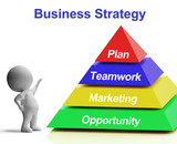 Business Strategy Pyramid Shows Teamwork Marketing And Plan