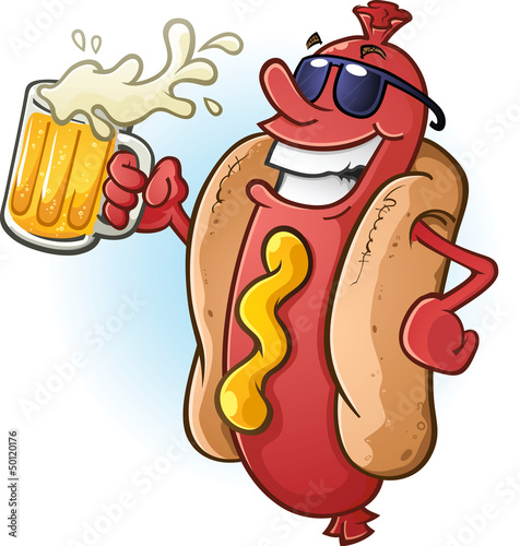 Hot Dog Cartoon Wearing Sunglasses and Drinking Cold Beer
