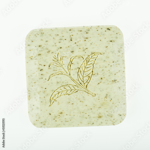 Colorful soap bar with floral pattern