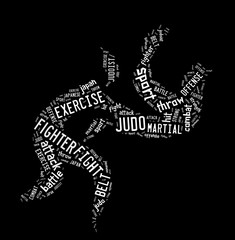 Judo pictogram on black background