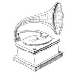 Vintage gramophone isolated on white