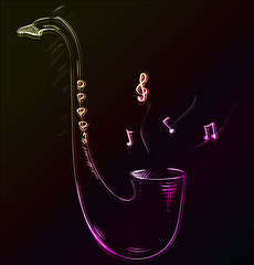 Saxophone glowing sketch