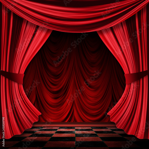 Realistic red curtains