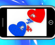 Two Hearts On Smartphone Shows Marriage
