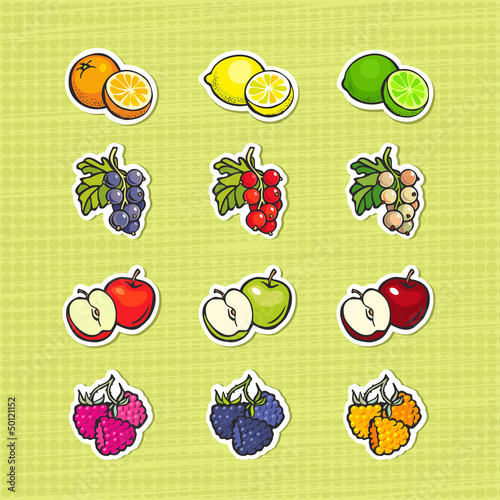 Multicolor set of fruits and berries