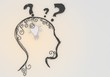 Isolated bright light thinking symbol inside the head