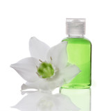 bath items - liquid soap and flower