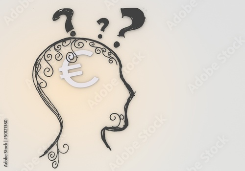 Psychological Euro pictogram inside a painted head