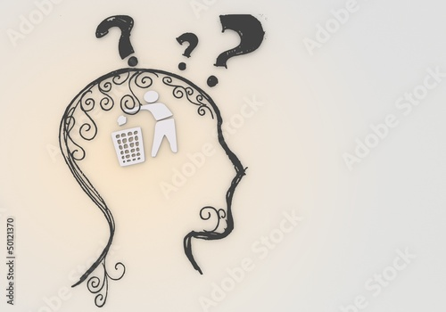 isolated delete pictogram inside a painted head