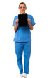 Pretty doctor showcasing a portable tablet