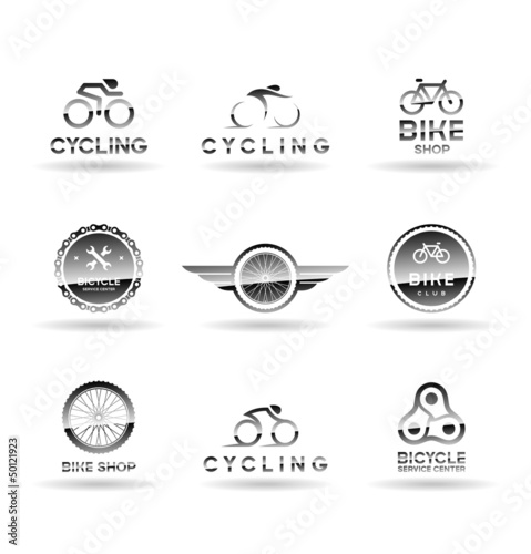 Bicycles and cycling. Icons set. Vol 1.