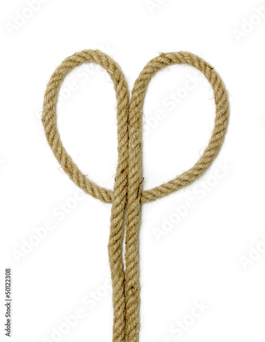 close up of rope part , on white background