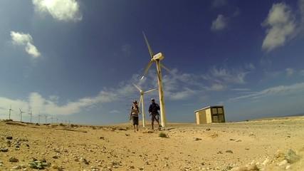 Travelers near the wind turbine, Fuerteventura, Canary Islands