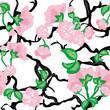 Cherry flowers seamless pattern