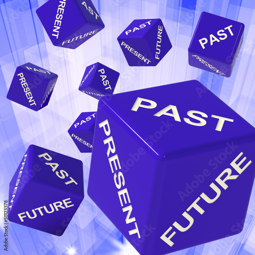 Past, Present, Future Dice Showing Forecasts