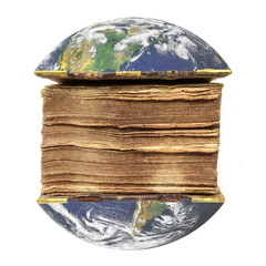 Planet Earth opened like book