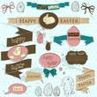 Set of vintage deign elements about Easter.