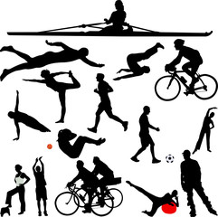 recreation sport silhouettes - vector