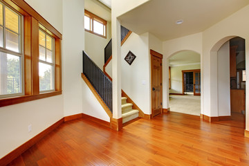 Beautiful home entrance with wood floor.
