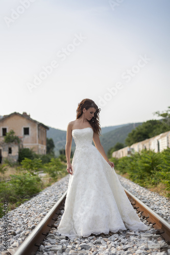 Bride on a railway