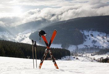 Pair of cross skis in snow, High Mountains