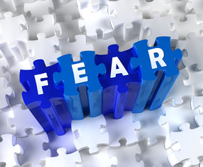 Creative 3D pieces of puzzle and word FEAR