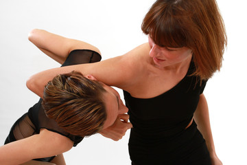 two woman fighting