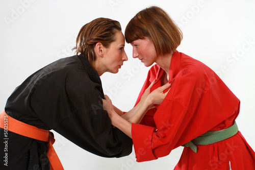 women in fighting stance