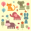 Set of cute funny animals