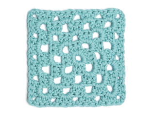 Crochet Doily - Light Blue Granny Square