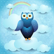 Owl in the sky, fantasy illustration