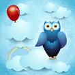 Owl and balloon, fantasy illustration