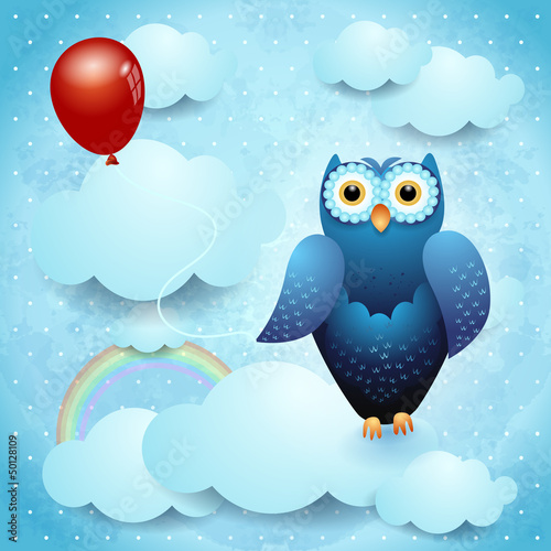 Owl and balloon, fantasy illustration