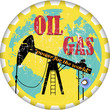 vintage oil and gas advertising sign, vector