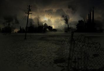 Hintergrund verseuchte Industriestadt