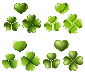 Three and four leaf clover set