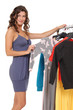 young female choosing clothes