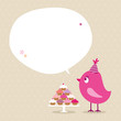 Pink Bird 10 Cupcakes Speech Bubble Beige Dots