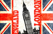 drapeau anglais coupé avec écrit london england et big ben