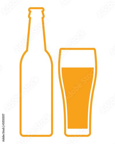 Beer bottle and glass - vector illustration - 50130517